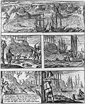 Engraving showing scenes of Dutch killing animals on Mauritius, including Dodos