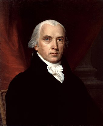 James Madison, the fourth President of the United States (1809-1817). Madison was the leader of the Democratic-Republican Party, whose power base came from southern and western states James Madison.jpg