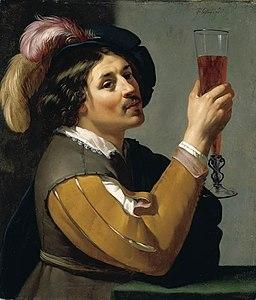 Jan van Bijlert - Young Man Drinking a Glass of Wine - WGA02184