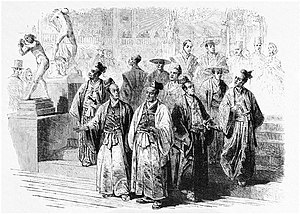 First Japanese Embassy to Europe (1862) - The members of the Japanese Embassy visiting the 1862 International Exhibition in London, from the Illustrated London News.