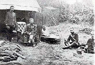 Japanese invasion of Taiwan (1895) - Prince Kitashirakawa Yoshihisa and his staff at Audi during the Japanese landing