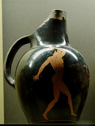 Javelin - A depiction of a javelin thrower on an ancient Greek vase, ca. 450 BC. Attributed to the painter of the Brussels Oinochoes.