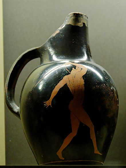 A depiction of a javelin thrower on an ancient Greek vase, ca. 450 BC. Attributed to the painter of the Brussels Oinochoes. Javelin thrower Louvre G243.jpg