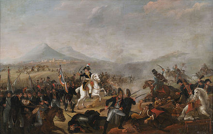 The Battle of Marengo was Napoleon's first great victory as head of state. Jean-Simon Berthelemy (circle) Napoleon in the Battle of Maringo.jpg