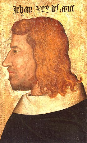 profile of a bearded man with long red hair