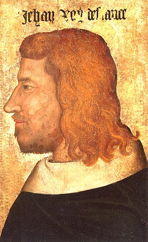 John II of France - Portrait on wood panel around 1350, Louvre Museum