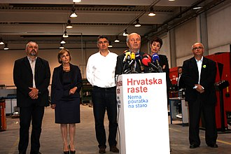 """People's Coalition (Croatia) - Leaders of the coalition """"Croatia is Growing"""" on the occasion of signing a coalition agreement on September 8, 2015"""