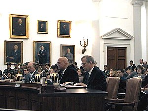 Jesse Ventura - Governor of Minnesota Jesse Ventura (center) testifies on China's participation in the WTO in March 2000.