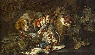 Früchte und Geflügel mit Jagdhund