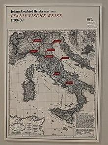 Besuchte Orte während Herders Italienreise von 1788 bis 1789 (Quelle: Wikimedia)