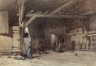 Hilversum - Interior of a farm near Hilversum, a 19th-century drawing by Johannes Bosboom