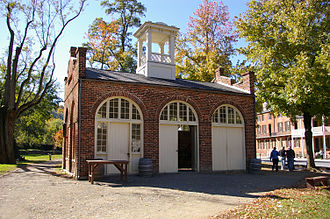 John Brown's raid on Harpers Ferry - A modern reproduction of the 1848 fire engine house that became known as John Brown's Fort. c. 2007