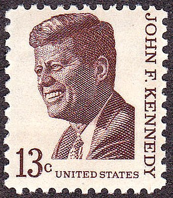 Kennedy on a U.S. postage stamp, issue of 1967 John F Kennedy 1967 Issue-13c.jpg