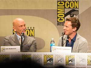 Penguins of Madagascar - John Malkovich and Benedict Cumberbatch talking at the Penguins of Madagascar panel at the 2014 San Diego Comic-Con International