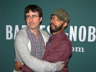 John Oliver - Oliver and Wyatt Cenac at the launch of Earth