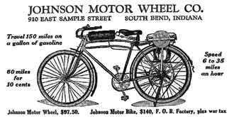Johnson Motor Wheel - Excerpt from advertisement for the Johnson Motor Wheel, as seen on Page 52 of the April 1920 issue of Boys' Life