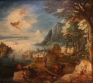 Landscape with the Fall of Icarus - This related work by Joos de Momper includes the ploughman and angler, but Icarus is still in flight, with wax drops falling.