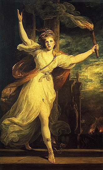 Thaïs - Thaïs leading the destruction of the palace of Persepolis, as imagined in Thaïs by Joshua Reynolds, 1781.