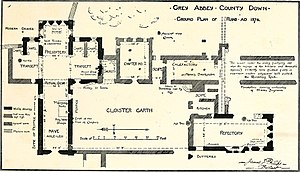 Grey Abbey - Plan of the abbey, drawn in 1874.