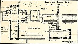 Grey Abbey - Plan of the abbey, drawn in 1874.