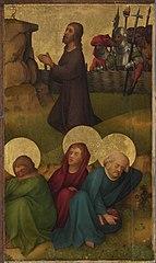 Tafel eines Flügelaltares: Christus am Ölberg Außenseite: behobelt