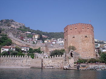 Red Tower and part of Alanya Castle