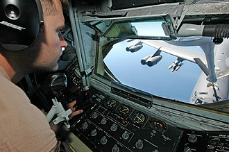 1966 Palomares B-52 crash - Boom operator's view of a B-52 from a KC-135 tanker