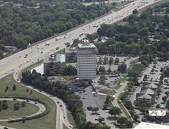 Cityscape of Louisville, Kentucky - An aerial view of the Watterson Expressway in St Matthews