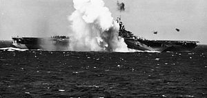 Kamikaze crashes near USS Ticonderoga (CV-14) 1944.jpg