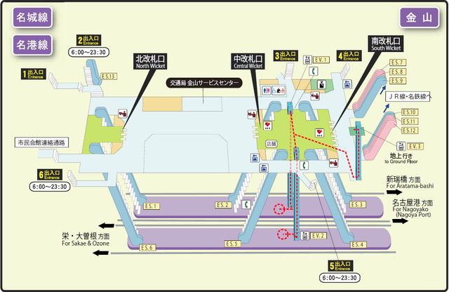 Kanayama station map Nagoya subway's Meijo line 2014.png