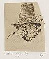 Karikatuur van man met hoge hoed, in profiel naar rechts, RP-T-1994-85.jpg