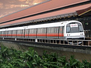 Transport in Singapore - A C751B train at Eunos MRT Station.