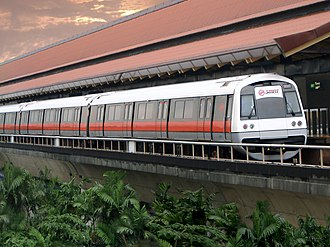 Mass Rapid Transit (Singapore) - A C751B train at Eunos MRT station