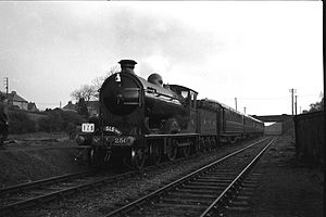 Kelvin Valley Railway - At Torrance in 1960 with a railtour. The train was hauled by preserved steam locomotive Glen Douglas.