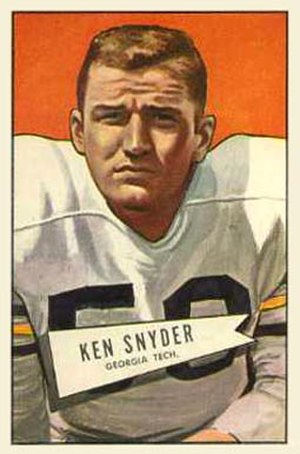 Lum Snyder - Snyder on a 1952 Bowman football card