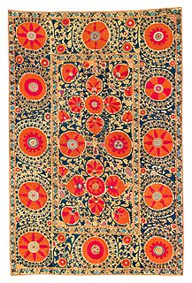 embroidered tribal textile made in Central Asia