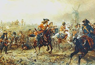 Battle of Ramillies - The Queen's Regiment of Horse breaking through on the right flank; seen here capturing the kettle-drummer of the Bavarian Electoral Guards.