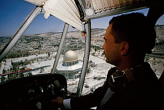 Hussein of Jordan - Hussein flying over the Dome of the Rock in East Jerusalem when the West Bank was under Jordanian control, 1965