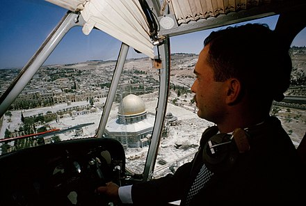 King Hussein of Jordan flying over the Temple Mount in East Jerusalem when it was under Jordanian control, 1965 King Hussein flying over Temple Mount when it was under Jordanian control.jpg