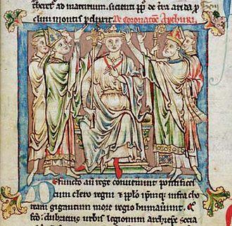 Flores Historiarum - King Arthur - miniature from the Chetham MS 6712 Flores Historiarum