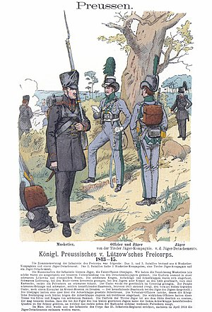 Lützow Free Corps - Free Corps Uniforms: Musketeer and Tyrolean Jäger. Illustration from Uniformenkunde by Richard Knötel