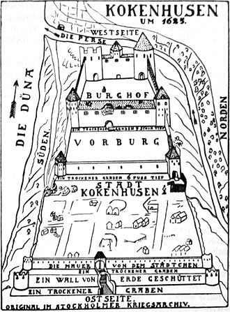 Storm of Kokenhusen - A drawing of Kokenhusen and its fortress about 30 years prior to the storming.