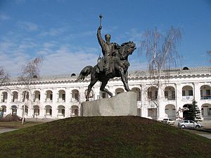 Petro Konashevych-Sahaidachny - Equestrian of Petro Konashevych-Sahaidachny at Kontraktova Square in Kiev, Ukraine. Established in 2001. Architects: Jarikov and Kuharenko. Sculptors: Shvetsov, Krylov, Sidoruk.