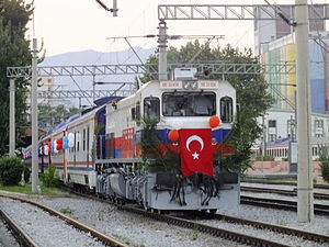 Konya Blue Train - The train on its inaugural run just after departing Alsancak.