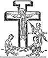 Kors, Korsfästelsescen l en handskrift från 900-talets slut, Nordisk familjebok.png