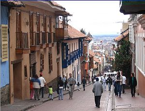 A typical street of Candelaria, Bogotá (Colombia)