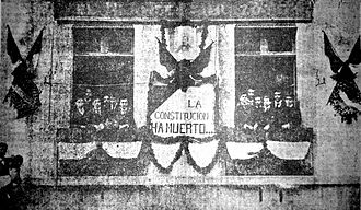 "Mexican Revolution - A banner (1903) at the office of opposition magazine El hijo de Ahuizote reads: ""The Constitution has died..."" (La Constitución ha muerto...)"
