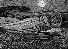 Sur le dessin, une femme tient un bébé dans ses bras alors qu'elle survole un cours d'eau et que la Lune éclaire la scène.