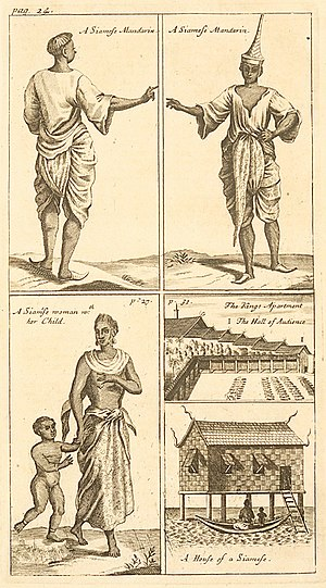 Traditional Thai clothing - A New historical recorded (Du Royaume de Siam) by French writer Simon de La Loubère show Siamese official wearing Lombok and Chong kraben, Lifestyle of Siamese people and Traditional Thai house