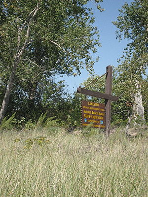 "Photograph of a wooden signpost and sign that reads ""Lakeview Wildlife Management Area, Natural Beach Area""."